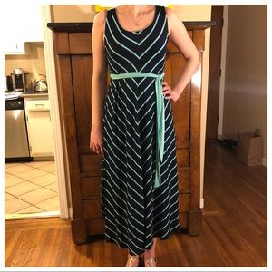 Navy & Turquoise Blue Striped Dress
